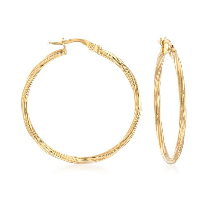 """Italian 18kt Yellow Gold Twisted Hoop Earrings. 1 1/4"""", , default"""