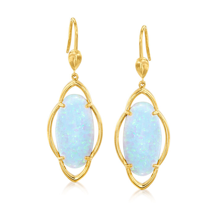 Simulated Opal Drop Earrings in 18kt Gold Over Sterling