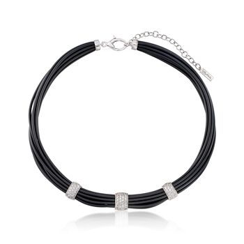 """Belle Etoile """"Adagio"""" 1.70 ct. t.w. CZ and Black Rubber Necklace in Sterling Silver. 16"""", , default"""
