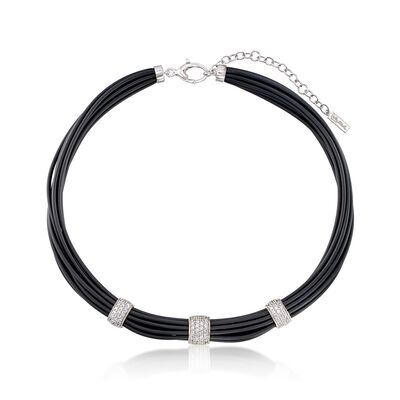"Belle Etoile ""Adagio"" 1.70 ct. t.w. CZ and Black Rubber Necklace in Sterling Silver, , default"