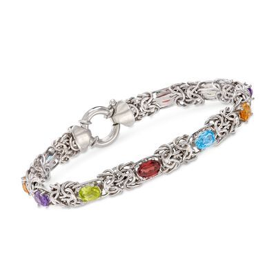 4.80 ct. t.w. Multi-Stone Byzantine Bracelet in Sterling Silver, , default