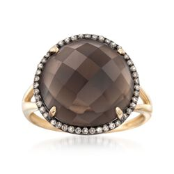 8.00 Carat Smoky Quartz and .18 ct. t.w. Brown Diamond Ring in 14kt Yellow Gold, , default