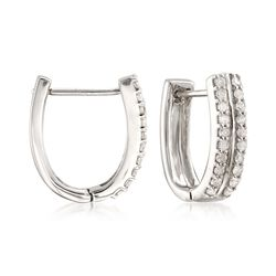 .25 ct. t.w. Diamond Huggie Hoop Earrings in 14kt White Gold, , default