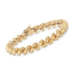 "14kt Yellow Gold Diamond-Cut San Marco Bracelet. 7"", , default"