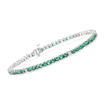 "4.70 ct. t.w. Emerald and .40 ct. t.w. Diamond Tennis Bracelet in 14kt White Gold. 7"", , default"