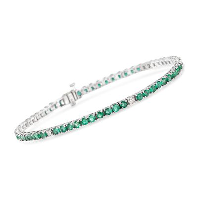 4.70 ct. t.w. Emerald and .40 ct. t.w. Diamond Tennis Bracelet in 14kt White Gold, , default