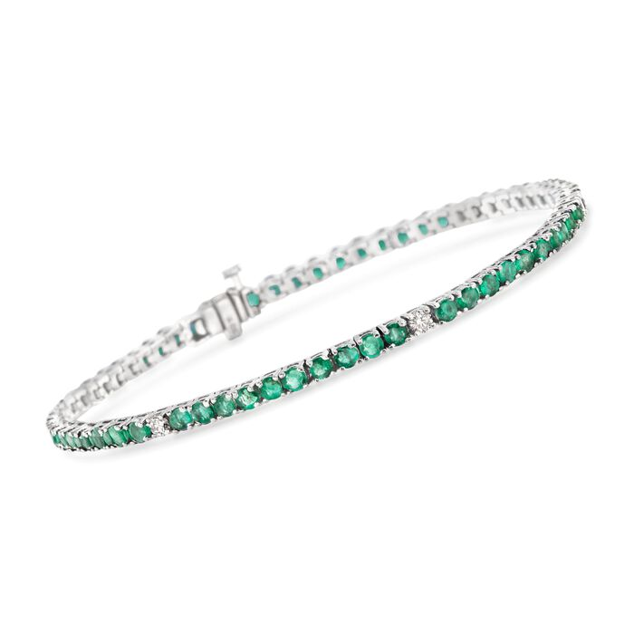 """4.70 ct. t.w. Emerald and .40 ct. t.w. Diamond Tennis Bracelet in 14kt White Gold. 7"""", , default"""