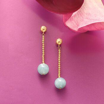 3.20 ct. t.w. Aquamarine Bead Drop Earrings in 14kt Yellow Gold, , default