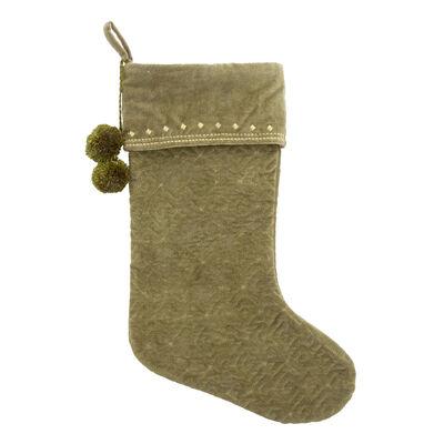 Green Pinecone Velvet Holiday Stocking