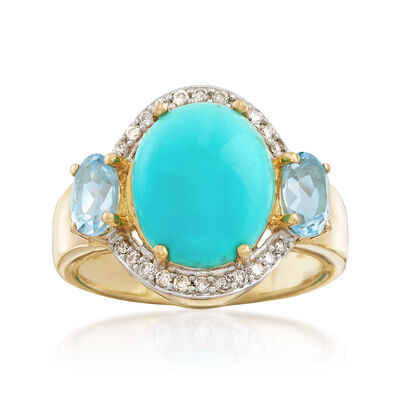 Stabilized Turquoise, 1.00 ct. t.w. Sky Blue Topaz and .17 ct. t.w. Diamond Ring in 14kt Yellow Gold , , default
