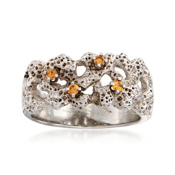C. 1980 Vintage .10 ct. t.w. Cognac Diamond Textured Coral Reef Motif Ring in 14kt White Gold. Size 6, , default