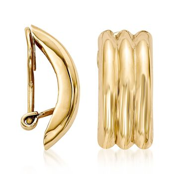 14kt Yellow Gold Curved Three-Row Clip-On Earrings, , default