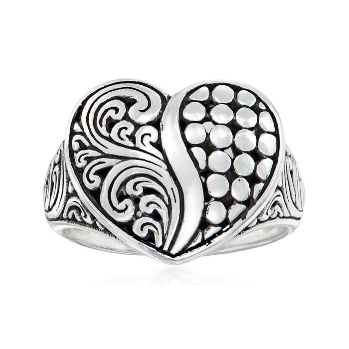 Bali-Style Sterling Silver Heart Ring