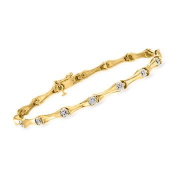 .10 ct. t.w. Diamond Station Bracelet in 18kt Gold Over Sterling, , default