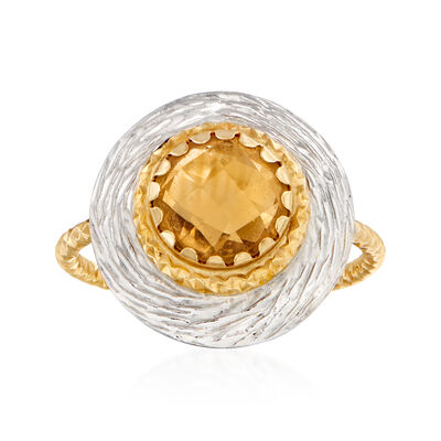 C. 2000 Vintage 1.90 Carat Citrine Ring in 14kt Two-Tone Gold