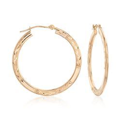 "14kt Yellow Gold Large Branch Patterned Hoop Earrings. 1 1/8"", , default"