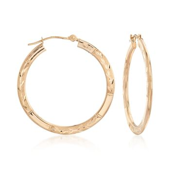 """14kt Yellow Gold Large Branch Patterned Hoop Earrings. 1 1/8"""", , default"""