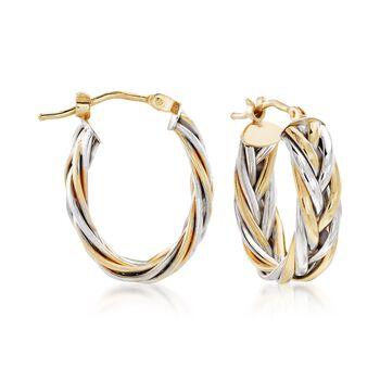 "Italian 14kt Two-Tone Gold Braided Hoop Earrings. 3/4"", , default"