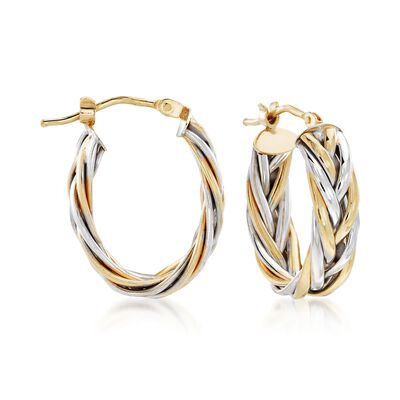 Italian 14kt Two-Tone Gold Braided Hoop Earrings, , default