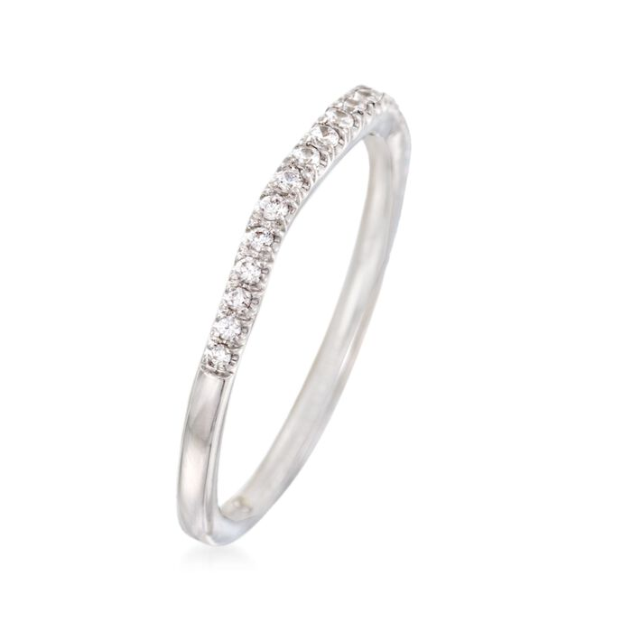Gabriel Designs .15 ct. t.w. Diamond Curved Wedding Ring in 14kt White Gold