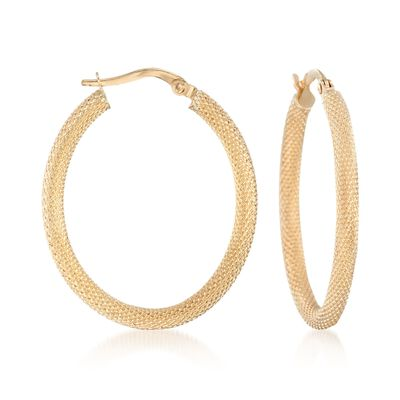 Italian 14kt Yellow Gold Textured Oval Hoop Earrings