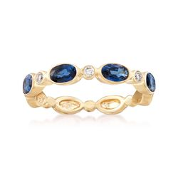 1.40 ct. t.w. Sapphire and Diamond Accent Ring in 14kt Yellow Gold. Size 7, , default