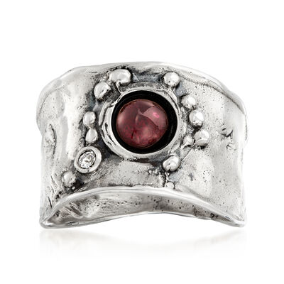 Garnet and White Topaz-Accented Ring in Sterling Silver