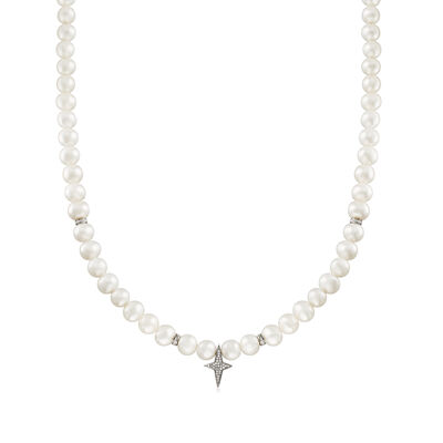 7.5-8.5mm Cultured Pearl and .20 ct. t.w. Diamond Ross-Simons Signature Star Necklace in Sterling Silver