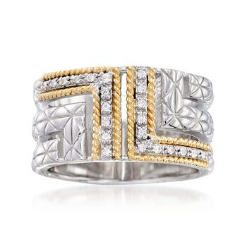 """Andrea Candela """"Labertino"""" .11 ct. t.w. Diamond Ring in 18kt Yellow Gold and Sterling Silver, , default"""