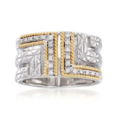 "Andrea Candela ""Laberinto"" .11 ct. t.w. Diamond Ring in 18kt Yellow Gold and Sterling Silver, , default"