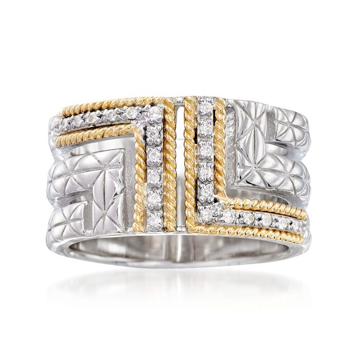 """Andrea Candela """"Laberinto"""" .11 ct. t.w. Diamond Ring in 18kt Yellow Gold and Sterling Silver. Size 7, , default"""