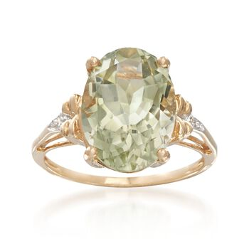 4.50 Carat Green Amethyst Ring With Diamond Accents in 14kt Yellow Gold, , default