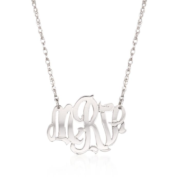 Sterling Silver Oval Monogram Pendant Necklace