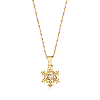 "Child's Disney ""Frozen"" 14kt Yellow Gold Snowflake Pendant Necklace with CZ Accent"