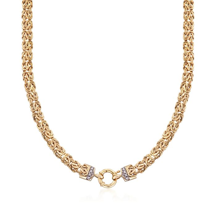 14kt Yellow Gold Byzantine Necklace with Diamond Accents, , default