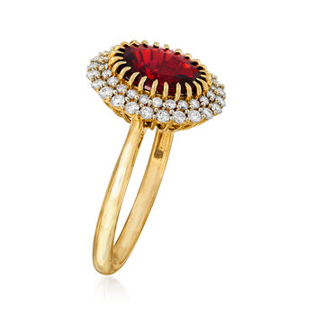 3.00 Carat Garnet and .48 ct. t.w. Diamond Ring in 14kt Yellow Gold