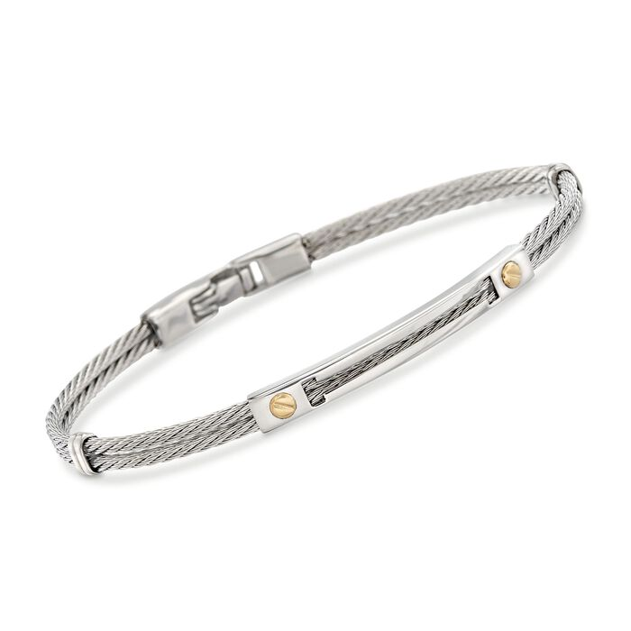 """ALOR Men's Stainless Steel Cable Bracelet with 18kt Yellow Gold. 7.75"""""""