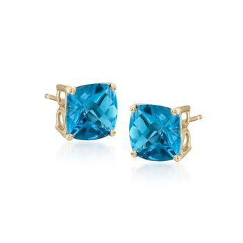 4.10 ct. t.w. Blue Topaz Stud Earrings in 14kt Yellow Gold, , default