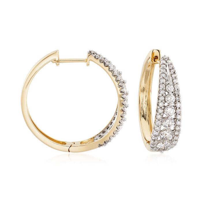 "2.00 ct. t.w. Diamond Graduated Hoop Earrings in 14kt Yellow Gold. 7/8"", , default"