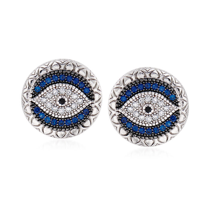.28 ct. t.w. Simulated Sapphire and .14 ct. t.w. Black and White CZ Evil Eye Stud Earrings in Sterling Silver, , default