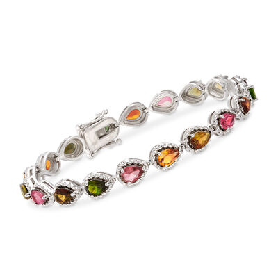 7.50 ct. t.w. Multicolored Tourmaline Bracelet in Sterling Silver, , default