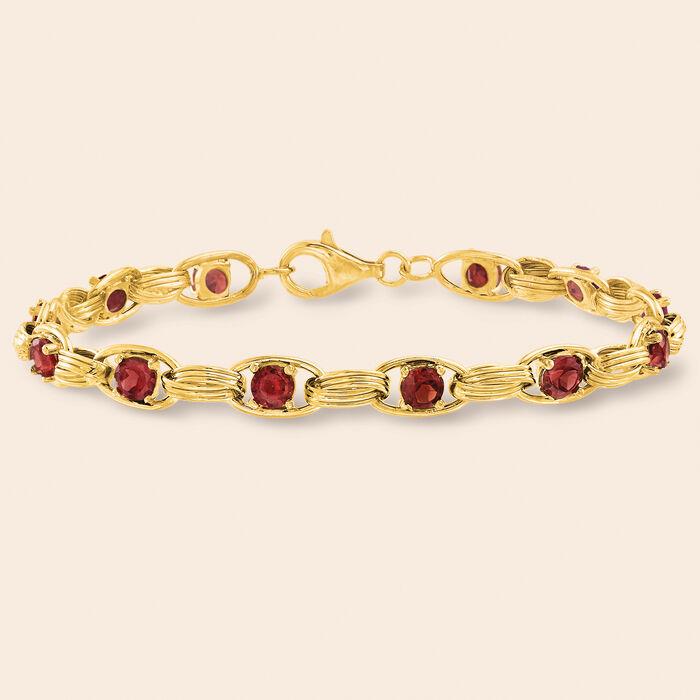 3.40 ct. t.w. Garnet Oval-Link Bracelet in 14kt Yellow Gold