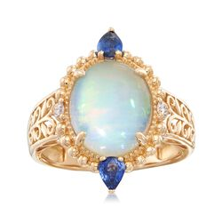 Opal and .40 ct. t.w. Sapphire Ring With Diamond Accents in 14kt Yellow Gold, , default