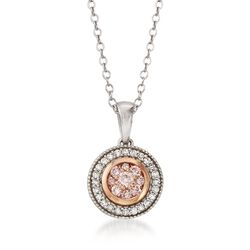 ".33 ct. t.w. Pink and White Diamond Pendant Necklace in 14kt Two-Tone Gold. 18"", , default"