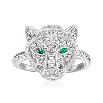 1.11 ct. t.w. CZ  and .30 ct. t.w. Simulated Emerald Tiger Ring in Sterling Silver
