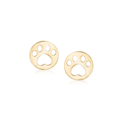 Child's 14kt Yellow Gold Paw Print Stud Earrings, , default