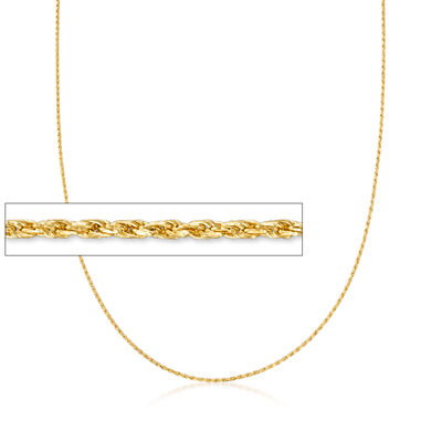 1mm 14kt Yellow Gold Adjustable Rope Chain Necklace