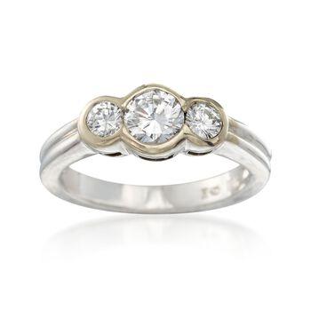 C. 1990 Vintage .80 ct. t.w. Bezel-Set Diamond Ring in 18kt White Gold. Size 5.25, , default