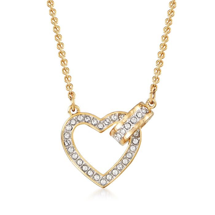 "Swarovski Crystal ""Lovely"" Clear Crystal Open-Space Heart Necklace in Gold Plate. 16.5"", , default"