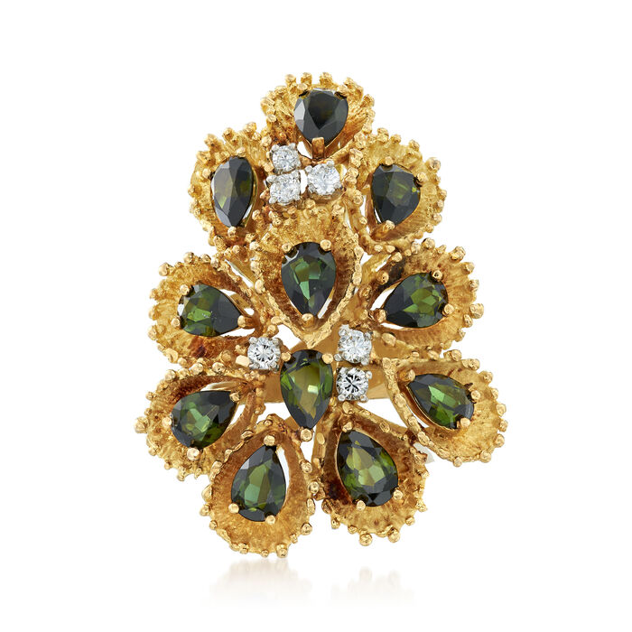 C. 1970 Vintage 5.30 ct. t.w. Green Tourmaline and .30 ct. t.w. Diamond Cluster Ring in 18kt Yellow Gold. Size 6.75, , default
